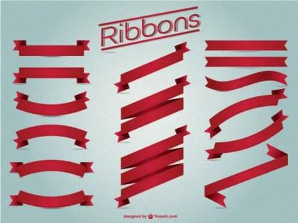 Red Ribbons Vintage Set Free Vector