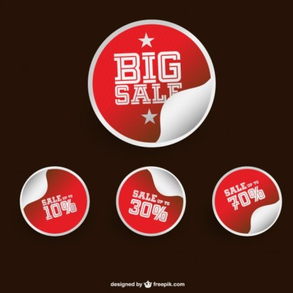 Red Sale Stickers Free Vector