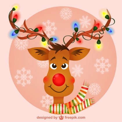 Reindeer with Christmas Lights Free Vector