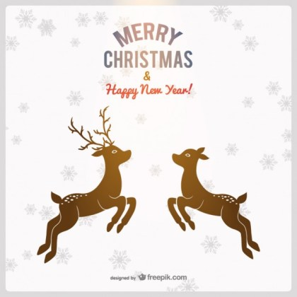 Reindeers Christmas Card Free Vector