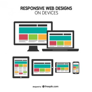 Responsive Web Design on Devices Free Vector