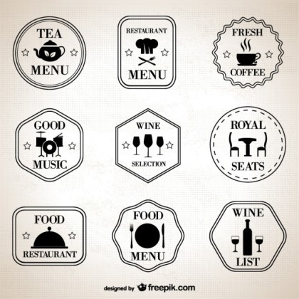 Restaurant Retro Symbols Set Free Vector