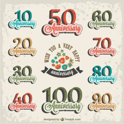 Retro Anniversary Set Free Vector