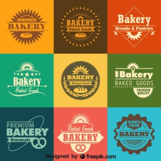 Retro Bakery Logos and Badges Collection Free Vector