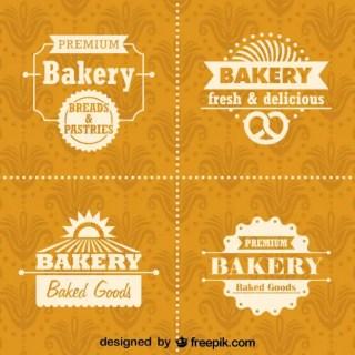 Retro Bakery Logos and Badges Set Free Vector