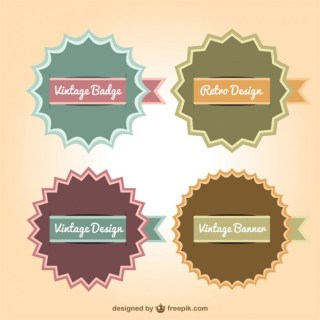 Retro Banner Badges Collection Free Vector