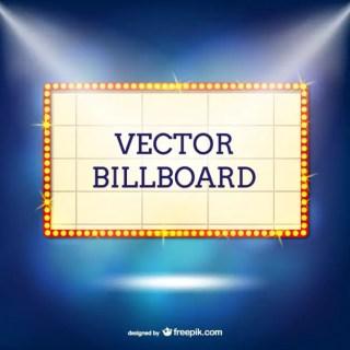 Retro Billboard with Lights Free Vector