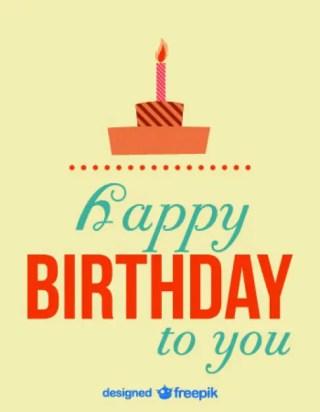 Retro Birthday Card Cake Illustration Free Vector