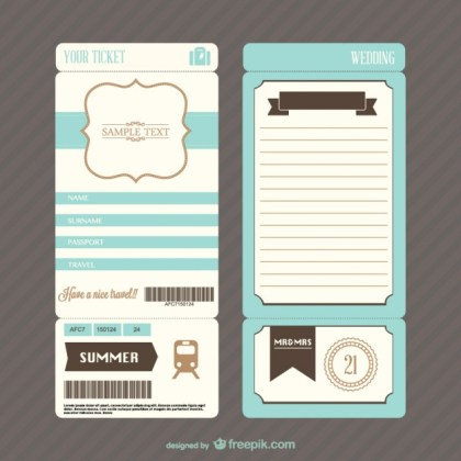 Retro Boarding Pass Ticket Wedding Invitation Free Vector