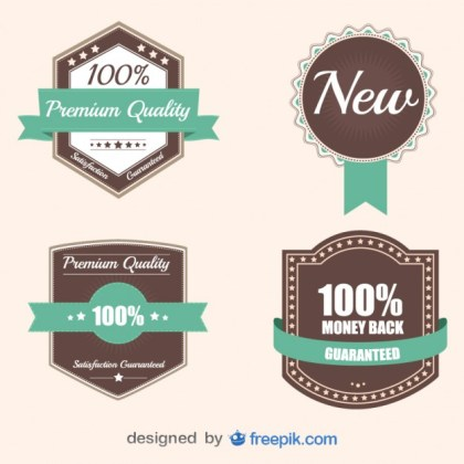Retro Business Stickers and Badges Collection Free Vector