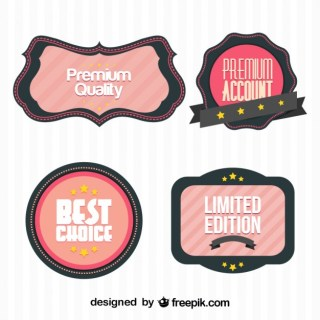 Retro Business Stickers Collection Free Vector
