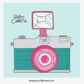 Retro Camera in Hand Drawn Style Free Vector