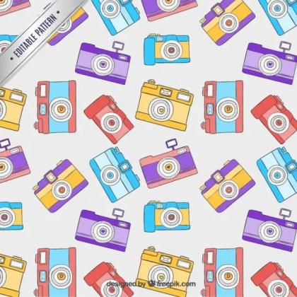 Retro Cameras Pattern Free Vector