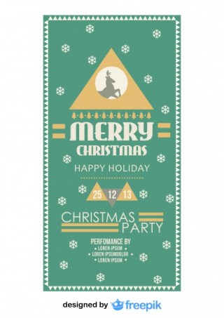 Retro Christmas Party Flyer with a Snowflakes Background Free Vector