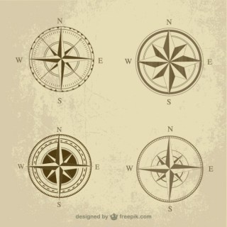 Retro Compass Pack Free Vector