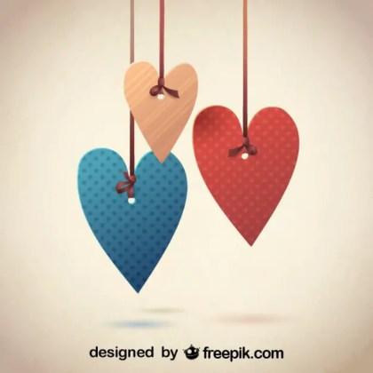 Retro Decorative Hearts Design for Valentines Day Free Vector