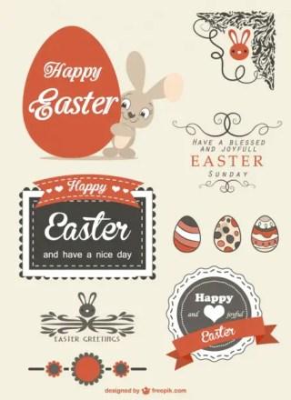 Retro Easter Graphics Free Vector