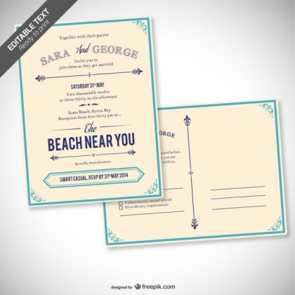 Retro Editable Wedding Invitation Free Vector