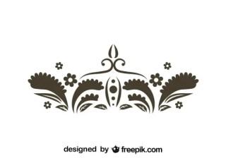 Retro Floral Graphic Element Free Vector