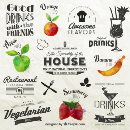 Retro Labels with Fruits Free Vector