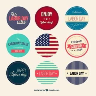 Retro Labor Day Badges Set Free Vector