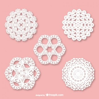 Retro Lace Ornaments Set Free Vector