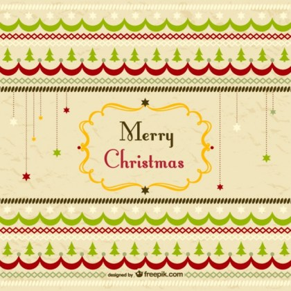 Retro Merry Christmas Greeting Card Free Vector