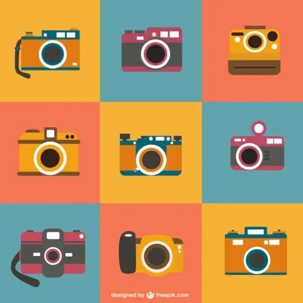 Retro Photo Cameras Set Free Vector