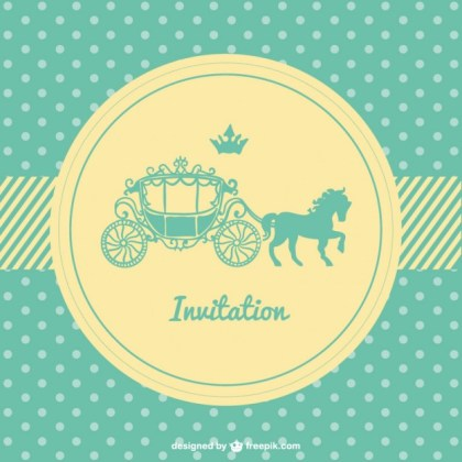 Retro Polka Dots Wedding Card Free Vector