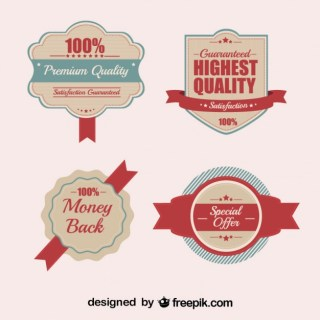 Retro Quality Badges and Stickers Free Vector