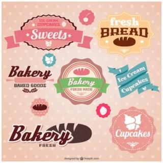 Retro Set of Bakery Stickers Free Vector