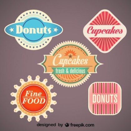 Retro Set of Food Labels and Badges Free Vector