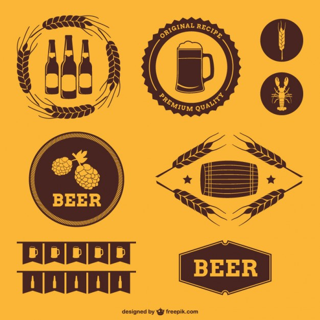 Retro Style Beer Badges Free Vector