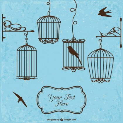 Retro Style Bird Cages Free Vector