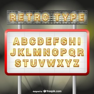 Retro Style Font Free Vector