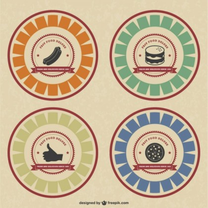 Retro Style Food Badges Free Vector