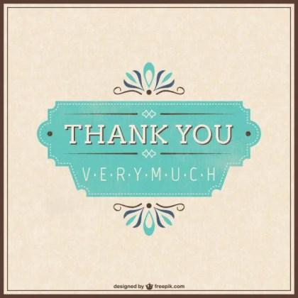 Retro Thank You Card Free Vector