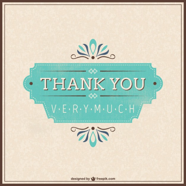 Retro Thank You Card Free Vector