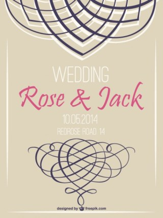 Retro Wedding Invitation Swirl Retro Design Free Vector