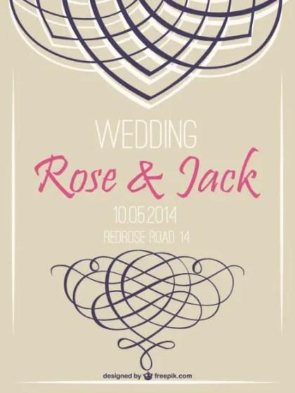 Retro Wedding Invitation Swirl Retro Design Free Vector