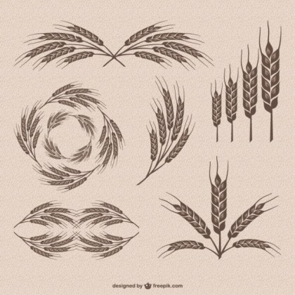 Retro Wheat Collection Free Vector
