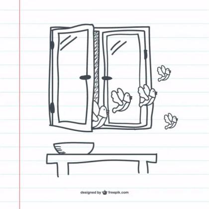 Retro Window Doodle Graphics Free Vector