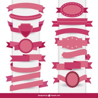 Ribbon Graphic Elements Collection Free Vector