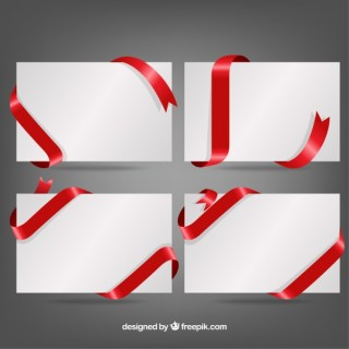 Ribbons Around Cards Free Vector