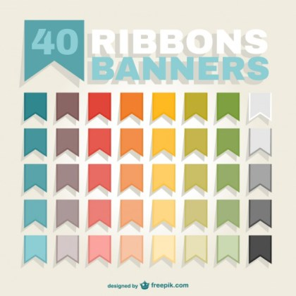 Ribbons Banners Pack Free Vector
