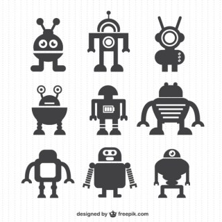 Robot Silhouettes Collection Free Vector