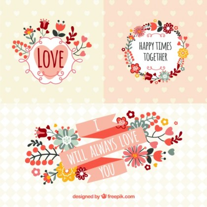 Romantic Banners in Spring Style Free Vector