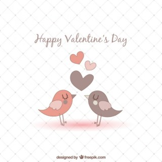 Romantic Birds Valentines Card Free Vector