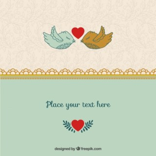 Romantic Valentine Birds Template Free Vector