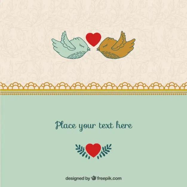 Romantic Valentine Birds Template Free Vector